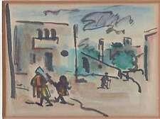 "JUDAICA DAVID HENDLER WATERCOLOR PENCIL DRAWING ""NEVE TZEDEK"" SIGNED 1950s"