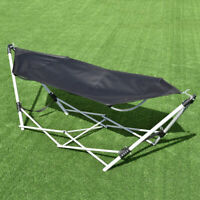 Portable Folding Hammock Beach Lounge Camping Bed W/Bag Steel Frame Stand Black