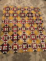 Vintage Patchwork Quilt Top Handmade Quilt Top Stunning Colors 44x53 Quilt Top