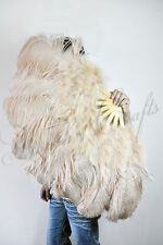 "Beige Camel Marabou & Ostrich Feather Fan 24""x43"" burlesque dance with gift box"