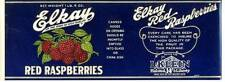 Antique/Vtg Elkay Red Raspberries CAN LABEL Chicago, IL Grocery Store embossed