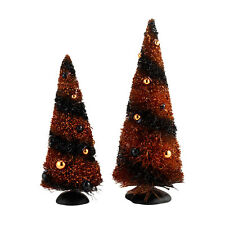 Dept 56 Halloween Sisal Trees Set of 2 SVH Snow Village D56 4033852 NEW