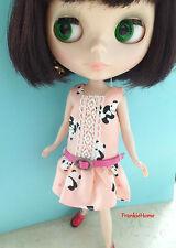 Blythe Doll Outfit Panda Print Pink Dress + Belt Set