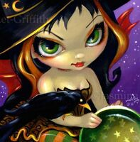 Fairy Face 111 Jasmine Becket-Griffith Magic Halloween Witch SIGNED 6x6 PRINT
