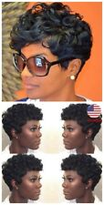US female Curly Short Wigs Black Brown Pixie Cut Synthetic Hair Wigs for women