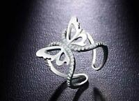 Adjustable Women Wedding White Sapphire Gemstone Silver Jewelry Butterfly Ring