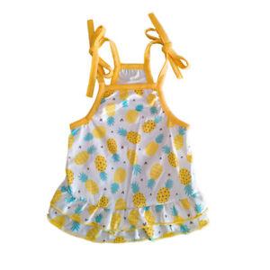 Universal Summer Dog Sling Skirt Pineapple Printed Vest Sweet Princess Style