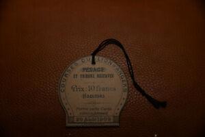PMU HIPPISME SOCIETE DES COURSES DU LION D'ANGERS CARTE DE PESAGE Année 1909