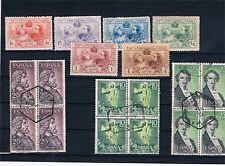 España. Ficha con sellos nuevos y usados en bloques de 4