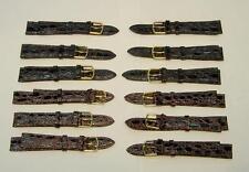 Brand New 12 Pcs. Brown Alligator Grain Genuine Leather Straps-Free Shipping!
