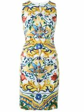 Dolce & Gabbana Maiolica Tile-Print Ruched-Waist Dress Orig$2496 + tax 48IT/14US