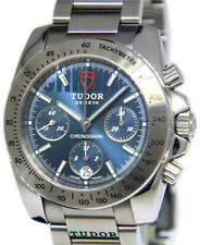 Tudor Sport Chronograph Steel Blue Dial Mens 41mm Watch Box/Papers 20300