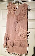Pretty Angel tunic sleeveless linen blendSize S M  light brown lace applique