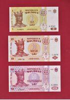 3 MOLDOVA UNC NOTES: 1 Leu 2006 P-8, 10 Lei 2006 P-10, & 50 Lei 2002 (RARE YEAR)