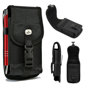 Large Black Buckle Nylon Clip Pouch Cover Fits Phone with Otterbox Holster Size