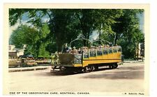 Montreal Quebec QC -OBSERVATION TROLLEY CAR- Linen Postcard Canada