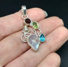 925 Silver Ethnic Indian Moonstone & cut mixed gem Pendant Necklace Jewellery