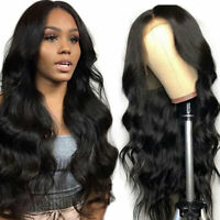 100% Malaysian Real Remy Human Hair Wig Body Wavy Curly Lace Front Full Wig d392