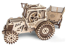 Mechanical wooden 3D puzzle Tractor with Trailer Construction Set Gift Idea