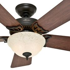 "Hunter 42"" New Bronze Ceiling Fan with Amber Scavo Light Kit"