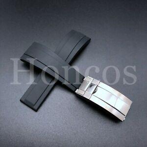 RUBBER BAND STRAP FOR ROLEX DAYTONA 16520 116518 BLACK REGULAR STEEL CLASP USA