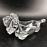 Sasaki Leaded Crystal Modern Art Glass Lion Figurine Candy Nut Dish Japan