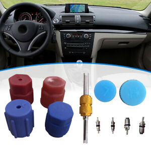 Auto Car R134a Air Conditioning Valve Core A/C System Caps Kit W/ Remover Tool
