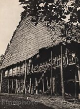 1940 Original BORNEO KAYAN LONG HOUSE Home Architecture Photo Gravure K.F. WONG