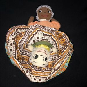"""Vintage 18"""" Topsy Turvy Doll White/African American Girl Hand Stitched Faces EUC"""