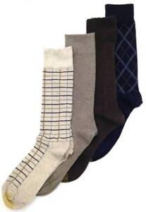 $45 Gold Toe Men 4-Pair Pack Blue Beige Stripe Cotton Crew Dress Socks Shoe 6-12