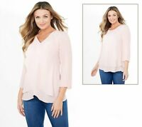 Laurie Felt Woven Reversible Pleated Sleeve Blouse (Pink, L) A379346