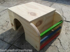 PINE PLYWOOD HIDEOUT WITH HAY RACK 4 RUN CAGE GUINEA PIG,DWARF RABBIT