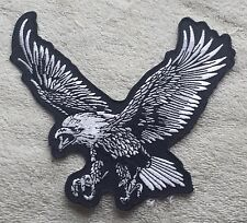 EAGLE SILVER PATCH Cloth Badge/Emblem/Insignia 13.3cm x 12cm Biker Jacket Bag