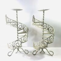 Pair Vintage Wrought Iron Spiral Staircase Candle Holders Antique White 15 in
