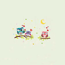Owl Flower Tree Mural Wall Stickers Decal Nursery Baby Room Art Decorations DIY