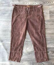 New Da Nang Women's Corduroy Cropped Zipper Hem Pants Brown