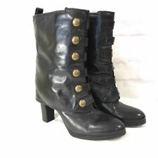 Nine West Womens Dalli Boots Black Foldover Leather Military Steampunk 8.5 M