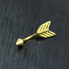 Gold Feathers Arrow Tail Button Dangle Body Piercing Jewelry Navel Belly Ring