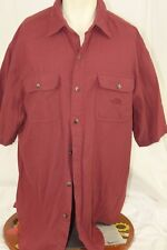 XL The North Face Button-Front Shirt Mens Regular Red Short Sleeve Heavy