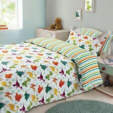 Dreamscene Dinosaur Duvet Cover Pillowcase Kids Bedding Set Stripe Single Double