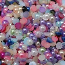 3000Pcs Half Round Bead Flat Back Acrylic Pearl Scrapbooking Embellishment Craft