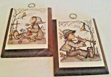 Hummel Plaques Pictures Wooden Set of Two Vintage Euc