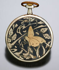Orion Open Face Niello Cased Pocket Watch with Foliate & Butterfly Motif CA1910