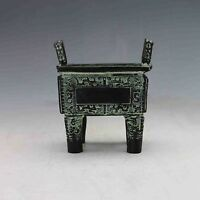 Collectible Chinese Bronze Handwork Carved Ding Incense Burner nb