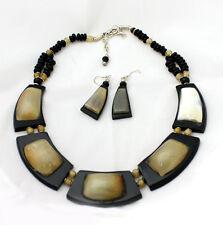 "Bronze Quartz Beaded Necklace Set;, Adjustable to 19"" long.US Seller New"