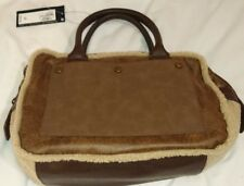 M & S Casual Bowler Bag Flux Leather and wool Brown Ivory Handbag Crossbody Bnwt
