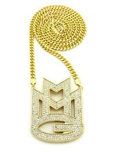 "NEW ICED OUT RICK ROSS MEEK MILL MMG PIECE & 6MM 36"" MIAMI CUBAN CHAIN."