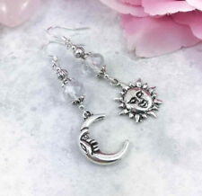 Mismatched Silver Sun and Moon Celestial Earrings, Clear Glass Bead Odd Earrings