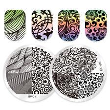2Stk BORN PRETTY Nagel Stempel Schablone Runden Streifen Nail Art Bild Plates