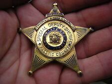 ANTIQUE VINTAGE OBSOLETE ENAMEL SPECIAL DEPUTY SHERIFF NJ STAR CAPTAIN BADGE PIN